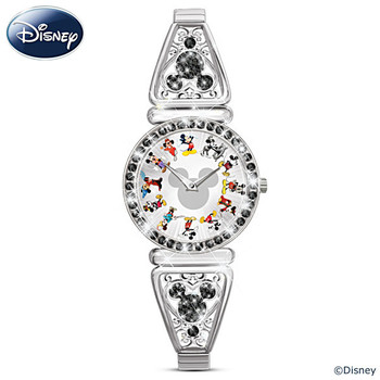 """Mickey Through The Years"" Rotating Watch With Crystals"