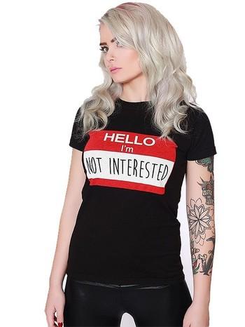 """Women's """"Not Interested"""" Tee by Strange Children (Black)"""