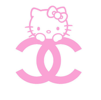 hello kitty decal hello kitty peeking decal Chanel ummmm YES.