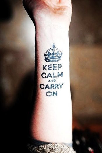 Glamorous Crown Tattoo. Keep Calm and carry on tattoo.
