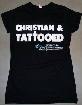 Women's Christian & Tattooed on Black - CoveredntheWORD Christian T-shirts & Tank Tops