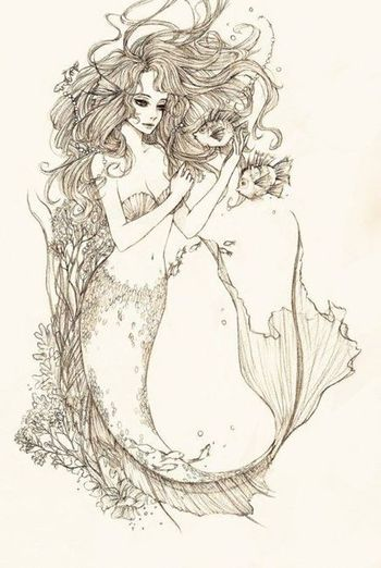 Mermaid tattoo -would be cool if tail and hair could be the outline of somthing else like a hidden pi