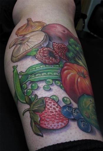 TattooNOW : Tattoos : Scotty Munster : Fruit and Vegetable tattoo