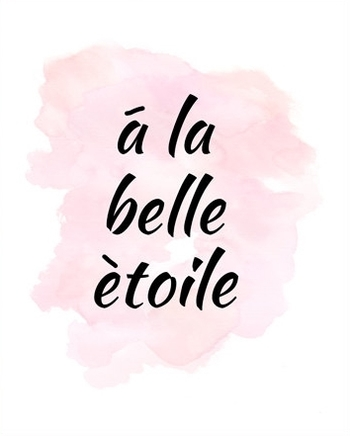 A La Belle Etoile, French Quote, Pink Wall Art, Pretty Print, French Poster, Under a Beautiful Star