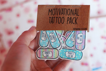 Motivational Band-Aid Tattoos ~ Cute Pastel Edition ~ Temporary Tattoo Pack ~ Self Care ~ Self Love ~ Self Improvement <3 ~ Stocking Fillers