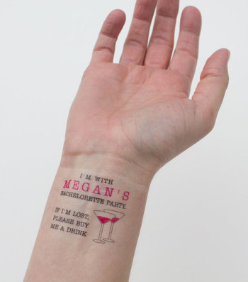 """Temporary Bachelorette Party Tattoo: """"If I'm lost, please buy me a drink"""" available at: www.kristenmc"""