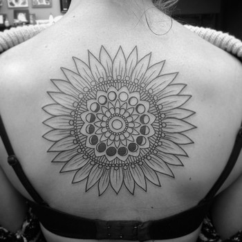 "Samazon on Instagram: ""Began this lovely #sunflower and #moonphases mandala this afternoon  Thanks Julie!! #denver #denvertattoo #denvertattoos #denvercolorado…"""