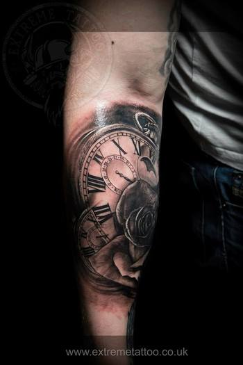 Clocks and rose,done at Extreme Tattoo&Piercing Inverness,Highland, Scotland by Catalin Gal. At our s