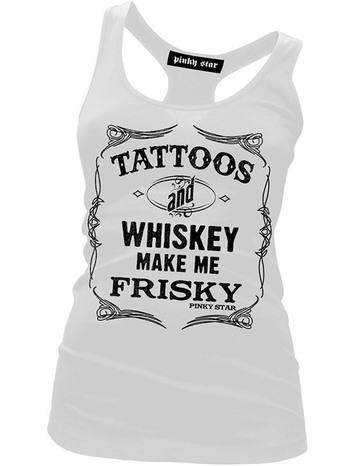 "Women's ""Tattoos & Whiskey Make Me Friskey"" Racerback Tank by Pinky Star"