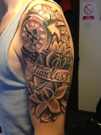 victorian pocket watch tattoo sleeve | 320937_10152440277870083_2133051032_n.jpg