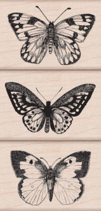 Three Artistic Butterflies Woodblock Stamp Set, large