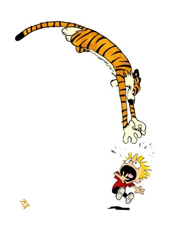 Calvin and Hobbes Pouncing by Daveastation on deviantART