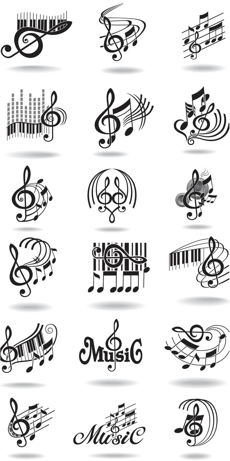 Notes music staff and treble clef vector vector graphics vector illustrations original