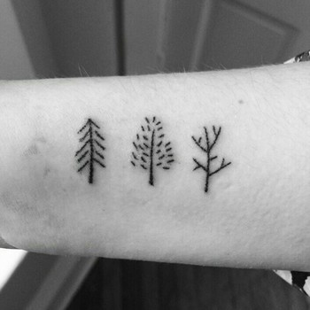 Cute trees stick and poke tattoo idea