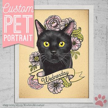 Cat portrait custom pet portrait art print stylized tattoo cat illustration puppy portrait 8x10 print with flowers pet lover gift dog cat