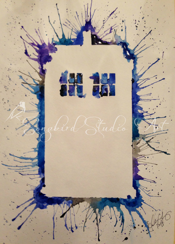 Tardis Splash Watercolor by Songbird Studio Art. Like us on Facebook!