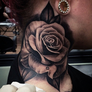 15 Beautiful Rose Neck Tattoos | Tattoodo