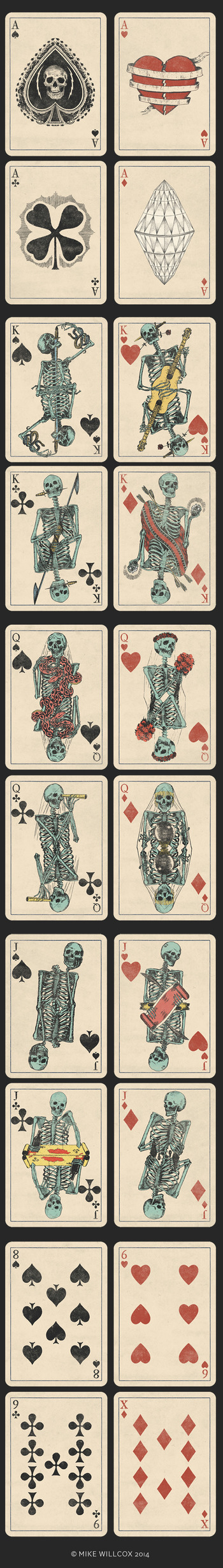 A Deck of Skeletons. Vintage Playing Cards.