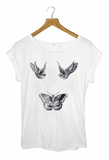HARRY STYLES TATTOO T-SHIRT BIRDS BUTTERFLY ONE DIRECTION SIZES SMALL MED LRG - $24.70 http://rover.e