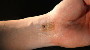 Temporary tattoos can detect electrical signals linked with brain waves, and incorporate solar cells