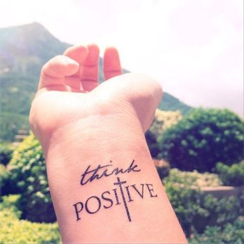 2pcs THINK POSITIVE Faith Cross - InknArt Temporary Tattoo - set wrist quote tattoo body sticker fake