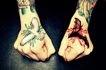 Sick tattoos on the hands. #tattoo #tattoos #ink