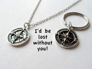 Couple Keychain, Compass Key Ring, Husband Wife, Girlfriend Boyfriend, Best Friend, I'd be lost without you, Initial, Necklace 20 24
