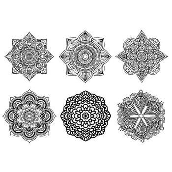 Set of 6 Mandala Boho Tattoo Pattern Tattoo Temporary Tattoo wrist ankle body sticker fake tattoo