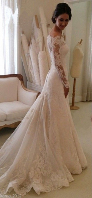 Lace Long Sleeves Mermaid Wedding Dresses Off Shoulder Elegant Bridal Dresses _Wedding Dresses 2016_Wedding Dresses_Buy High Quality Dresses from Dress Factory