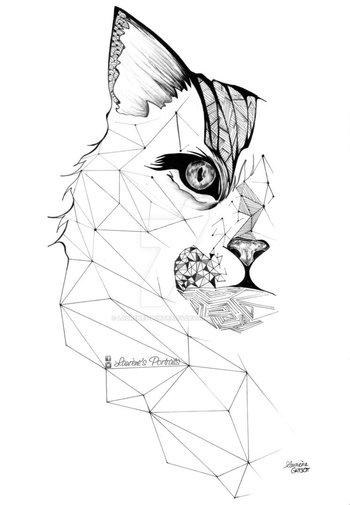 geometric tattoo cat - H�ada� Googlom