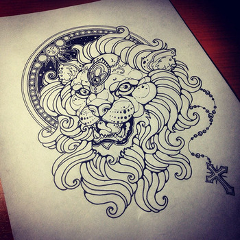 Lion by Vika Naumova, via Behance