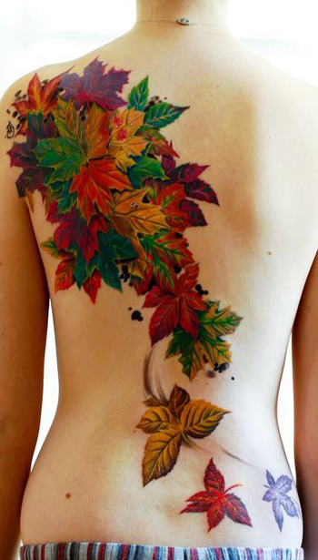 #Tattoos For my Beautiful Back.....love the coloring and the leaves........wonder how this could be t