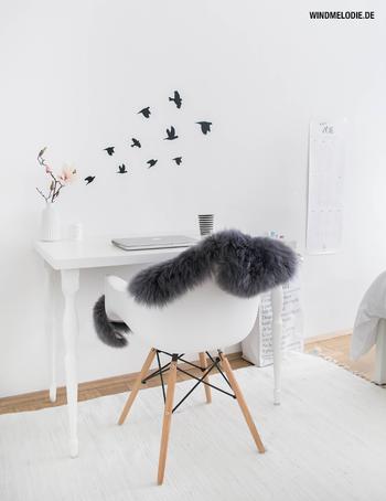 Nordic Home ❤ Neues Schlafzimmer, neuer Schreibtisch mit Wandtattoo-Vögeln und Give-Away!