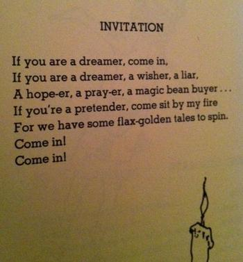 Shel Silverstein - Invitation. I want this as a tattoo. This poem, and all of his, informed so much o