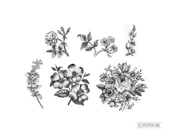 vintage black and white floral - 6 temporary tattoos- victorian illustration