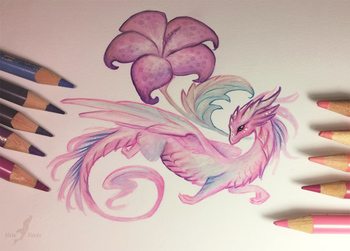 Pink flower dragon