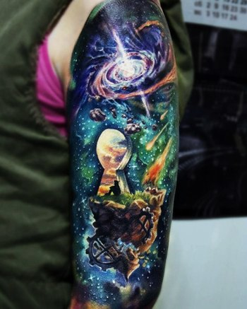 wolf of galaxy tattoo | Fash Circle