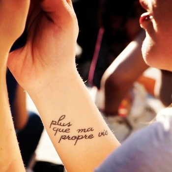 "Twilight tattoo- ""Plus que ma propre vie"" or ""More than my own life"""