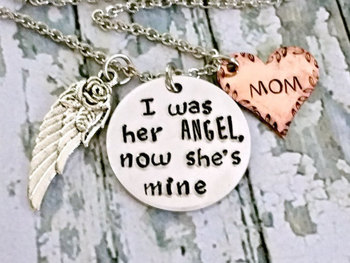 Angel Mom* Memorial Jewelry* Memorial Keepsake* Loss Of Mom* Loss Of Mother* Angel Wings* Guardian Angel* Memorial Gift* Sympathy Jewelry*