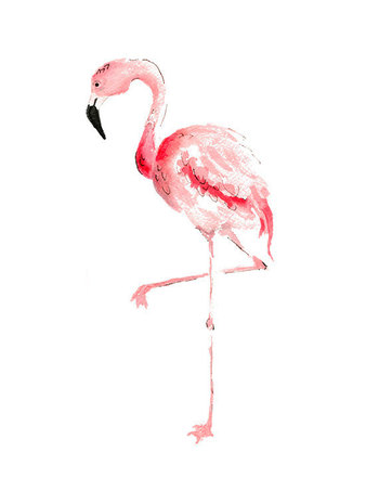 Pink Flamingo Print From Original Watercolor by wrensroost on Etsy, $14.00