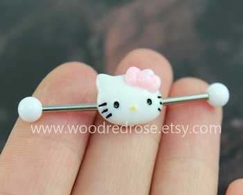 Hello Kitty Industrial Barbell Hello Kitty Double by woodredrose