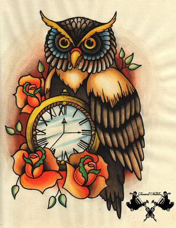 tattoo-flash owl and pocket watch