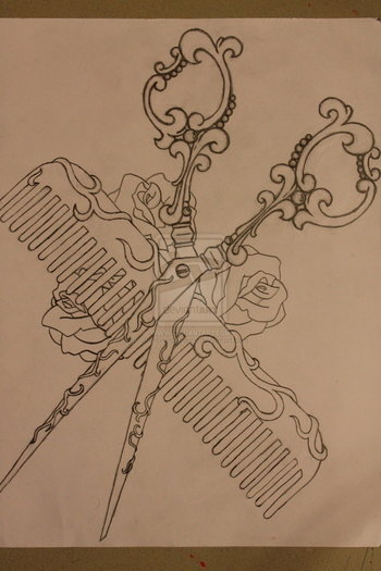 Shears and Comb Tattoo Design