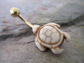 Bone White Natural Howlite Stone Turtle Belly Navel Ring Body Jewelry