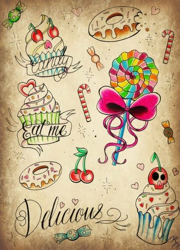 candy tattoos - Google Search