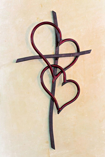 Double Heart Cross RED - Comes in 4 Sizes - Celebrate Faith