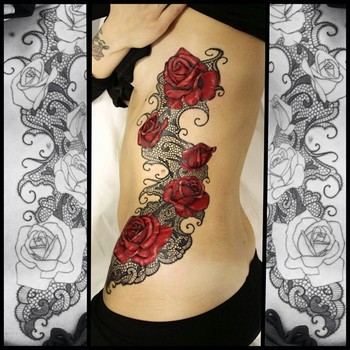 rose and lace tattoo - Google Search