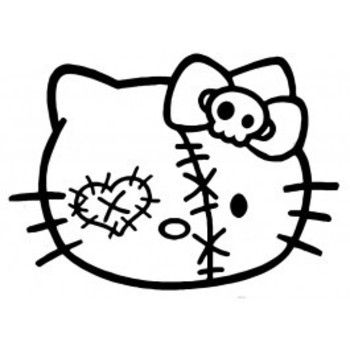 Zombie Hello Kitty Face Decal