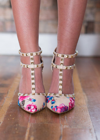 Double Decker Edge Heels Floral/Beige