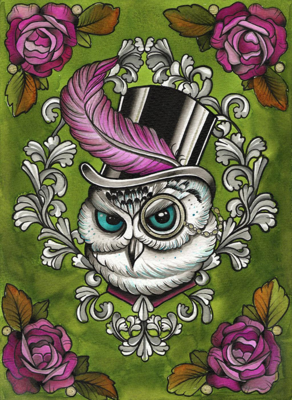 Victorian owl in top hat tattoo flash steam punk watercolour a4 art print 15 00 via etsy original